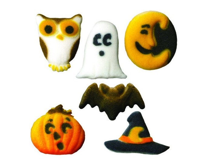 30 Halloween Cutie Creeper Mini Creatures Molded Sugar Cake / Cupcake Topper Decorations