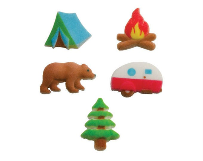 15 Happy Camper Molded Sugar Cake Cupcake Topper Decorations Ice Cream Nature Tree Tent Bear Hunting Fire Campfire Trailer