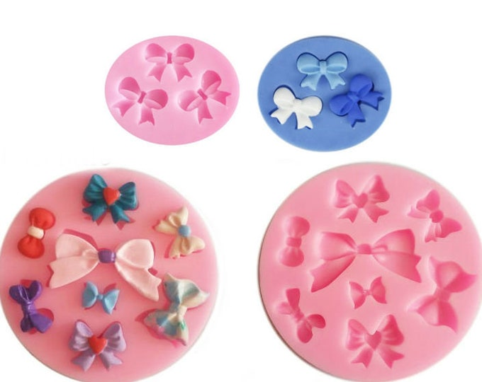 2 pc Round Bows and Knots Silicone Mold - Baking Fondant Happy Birthday Party Cupcake Bow Ties