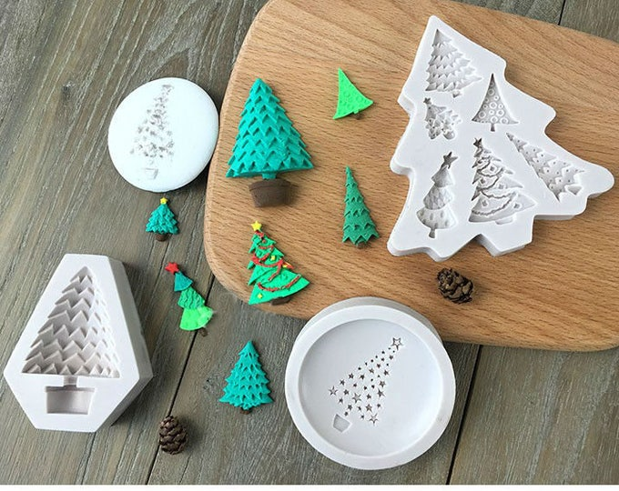 Christmas Tree Silicone Mold Set - M1150x - Baking Fondant Soap Chocolate Candy Jelly Holiday Winter Trees