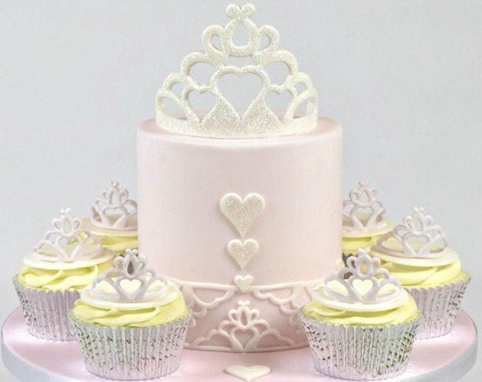 Tiara Crown 2 pc Fondant Cookie Cutter Plunger Mold Set - SLH526 - Princess Candy Fondant Cutter