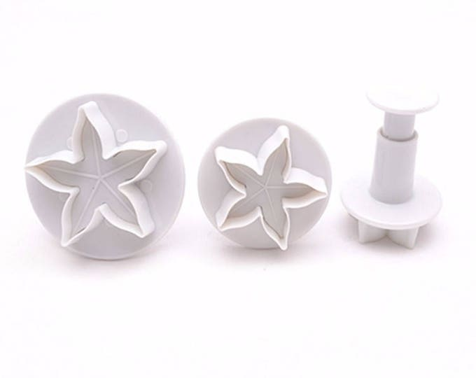 Star Flower 3 pc Cookie Cutter Plunger Mold Set - M395 Candy Fondant Cutter