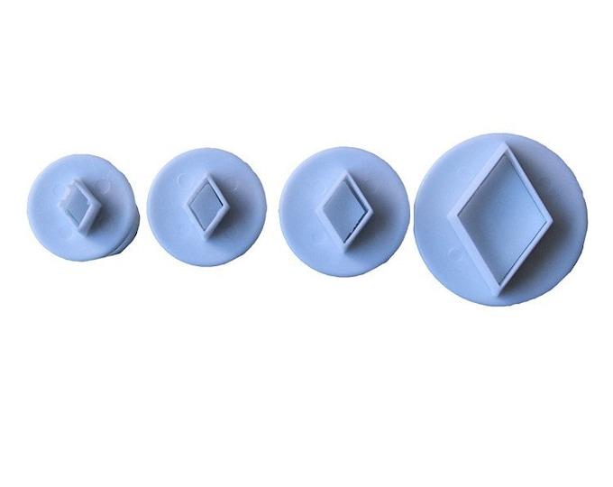 4 pc Diamond Cookie Cutter Plunger Mold Set - Flower Candy Fondant Cutter