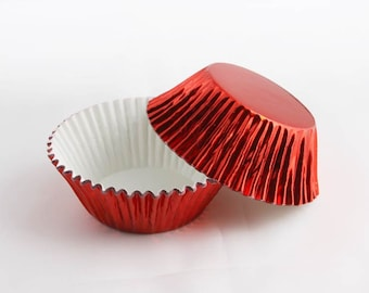 50 Red Foil Cupcake Liners, Baking Cups, Greaseproof, Professional Grade