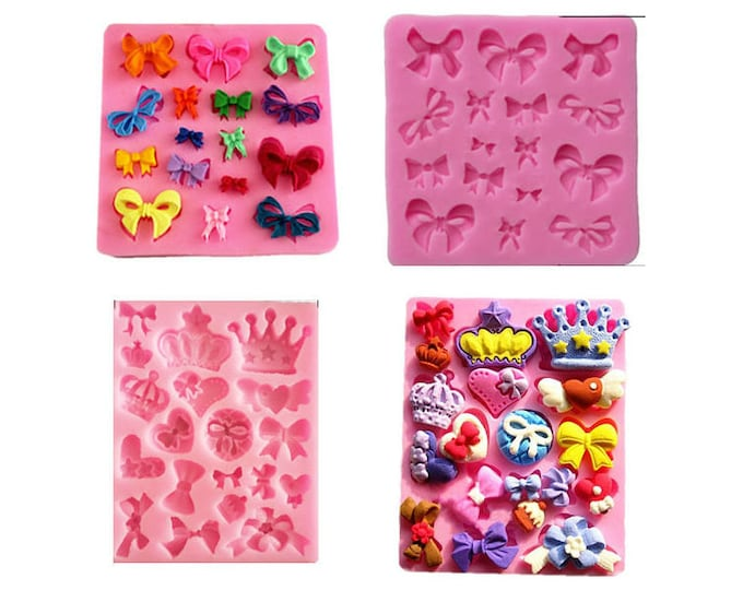 2 pc Square Rectangle Bows and Crown Silicone Mold - Baking Fondant Happy Birthday Party Cupcake Bow