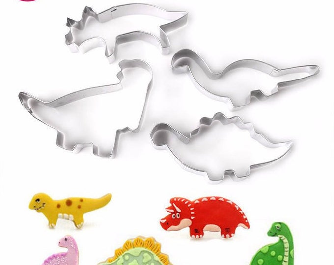 4 pc Dinosaur Cookie Cutter Set - C-1859 Party Biscuit Fondant Sugar Cutter