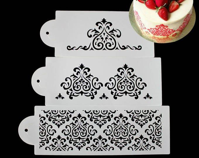 3 pc Damask Wedding Cake Stencil Set - 52059