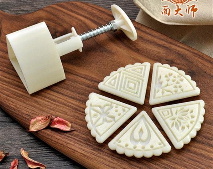 6 pc Cookie Moon Cake Mold Hand Press Cutter Set - YH256 - Banner Streamer Mold Party Biscuit Gumpaste Fondant Sugarcraft Sugar Cutter