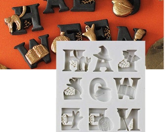 Halloween Letter Silicone Mold - Baking Fondant Candy Royal Icing Spooky Black Cat Witch Hat Ghost Ghoul Bat Cauldron Broom Broomstick Spell