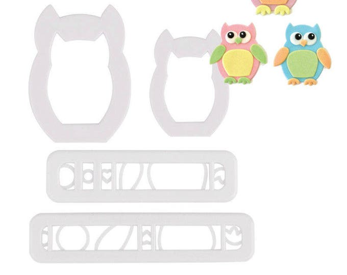 4 pc Owl Maker Cutter Set - SLH517 Party Biscuit Fondant Sugar Cutter Animal Bird