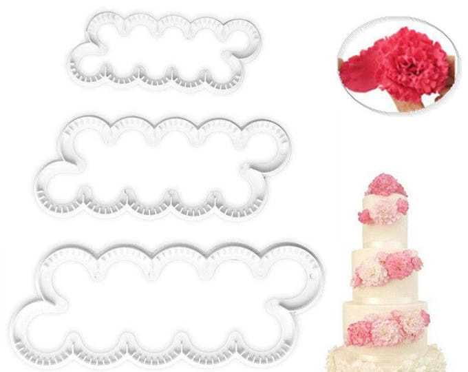 3 pc Carnation Flower Maker Cutter Set - C-1588 Party Biscuit Fondant Sugar Cutter