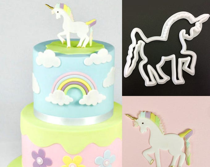 Unicorn Cookie Cutter  - Banner Streamer Mold Party Biscuit Gumpaste Fondant Sugarcraft Sugar Cutter
