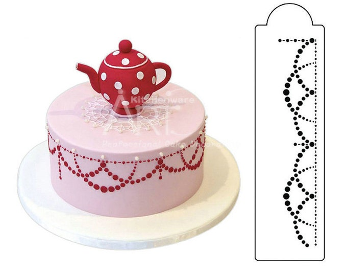 SALE 1 pc Pearl Swag Stencil - Cookie Cake Fondant Round Decorating ST-427