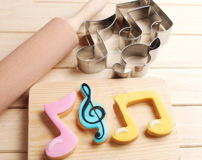 Music Notes Cookie Cutter 3pc Set Cutter Musical Instruments Piano Notes Guitar Violin Clef Treble K005 Party Fondant