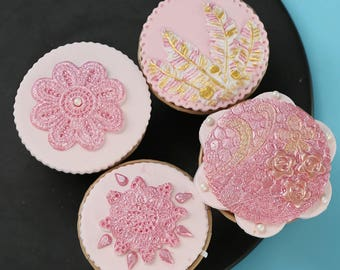 4pc Flower Fondant Silicone Mold -  Baking Fondant Candy Royal Icing Round Oval Vintage Floral Leaf Leaves