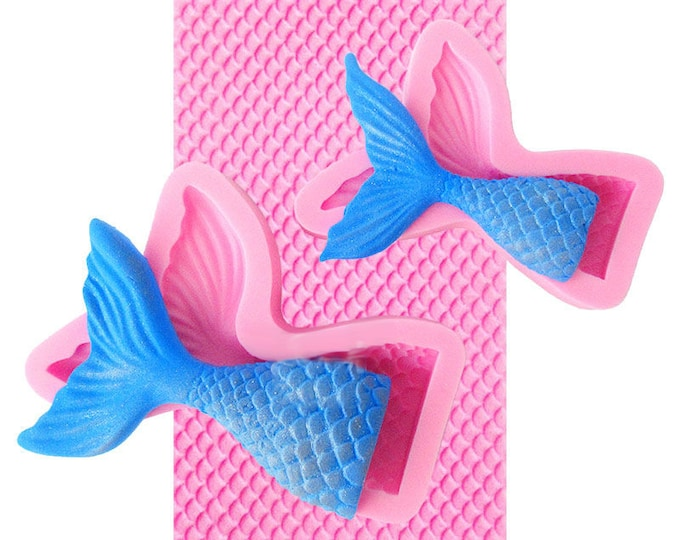 Mermaid Tail Fish Scales Silicone Mat Mold - Baking Fondant Soap Chocolate Candy Jelly Wedding Crown Princess Ariel Mermaid