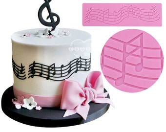 Music Notes Scale Score Silicone Mold - M-246 Baking Fondant Wedding Cake Decorating Tools
