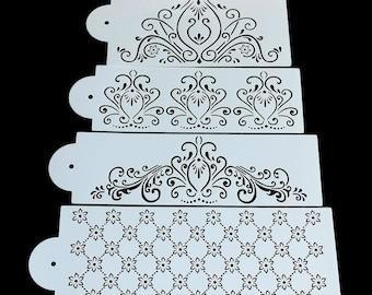 4 pc Princess Swirls Flower Loops Wedding Cake Stencil Set - 54040/54005