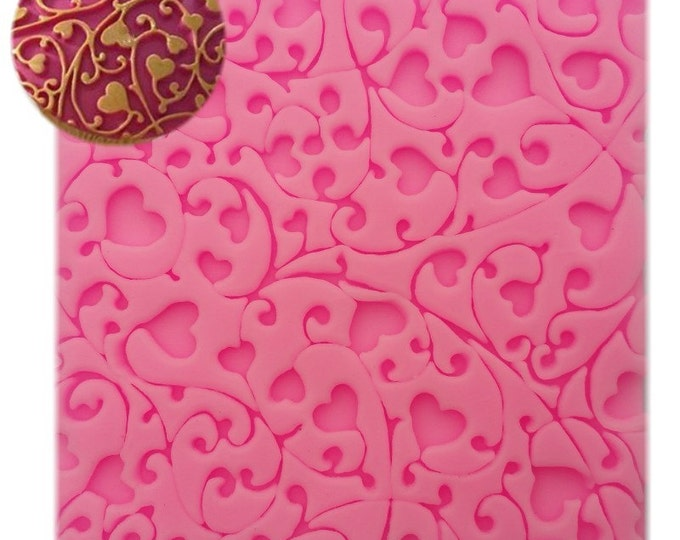 Heart Lace Silicone Mat Mold - E-118 - Baking Fondant Soap Chocolate Candy Jelly Wedding Leaves Vine Love Wedding