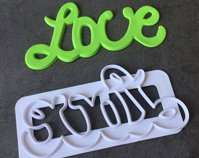 LOVE Cookie Cutter Set - 42019 - Banner Streamer Mold Party Biscuit Gumpaste Fondant Sugarcraft Sugar Cutter