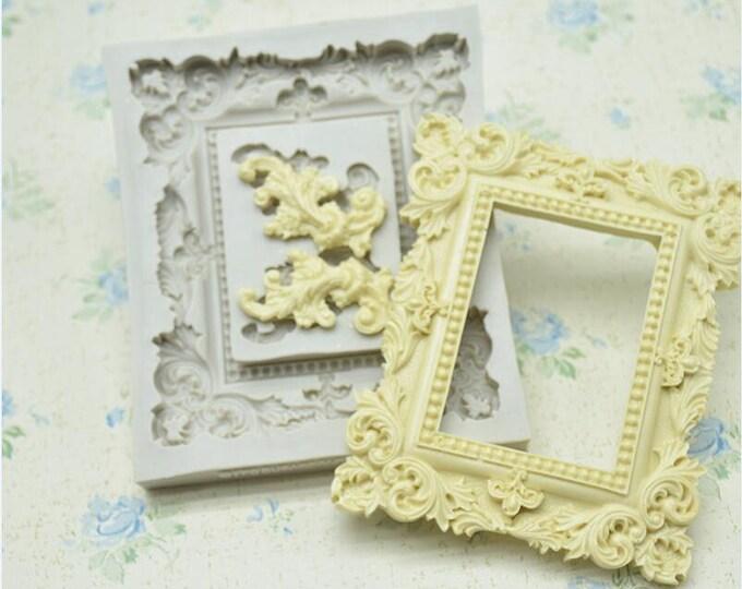 Large Clasic Frame Silicone Mold - M-0981 -  Baking Fondant Candy Royal Icing
