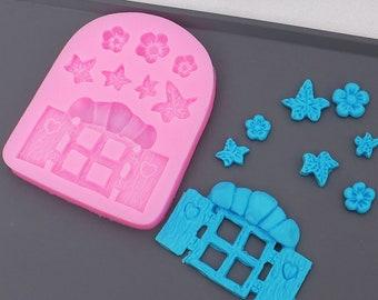 Fairy Garden Flowers Silicone Mold - Baking Fondant Soap Chocolate Candy Jelly Flower Window Cartoon