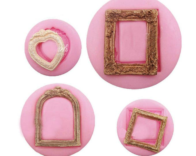 Classical Frames 4 pc Vintage Style Silicone Mold Set - M-1208 - Heart Birdcage Flourish Baking Fondant Candy Royal Icing Soap Chocolate