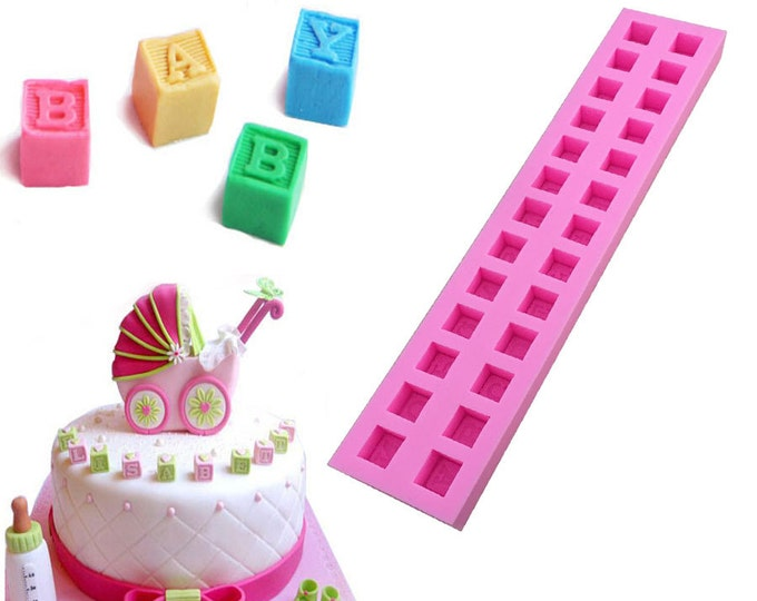 Alphabet Baby Blocks Letters Silicone Mold - E-309 - Chocolate Baking Soap Fondant Ice Gumpaste