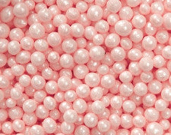 Edible Pink Sugar Pearl Candies - 4mm