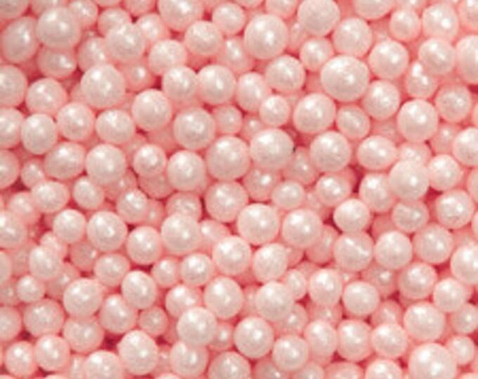 Edible Pink Sugar Pearl Candies - 4mm