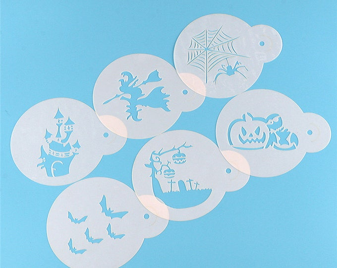 Halloween Stencil Set - 862508 - Cookies Cupcakes Cakes Decorations Haunted Mansion Bats Jack-o-lantern Witch Spider Ghouls Ghosts Wicked