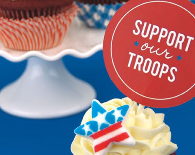 12 Stars and Stripes Patriotic Sugar Topper Decorations for Cakes & Cupcakes