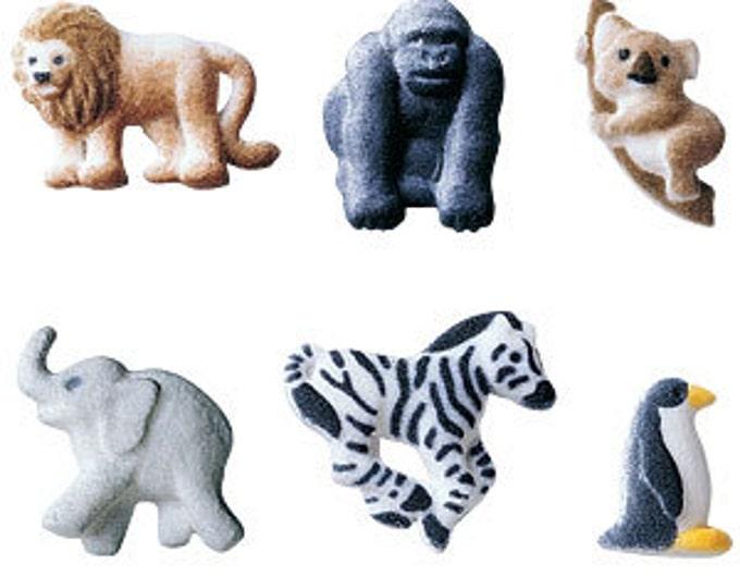 12 Zoo Animals Edible Molded Sugar Cake / Cupcake Topper Decorations  lion gorilla koala bear elephant zebra penguin
