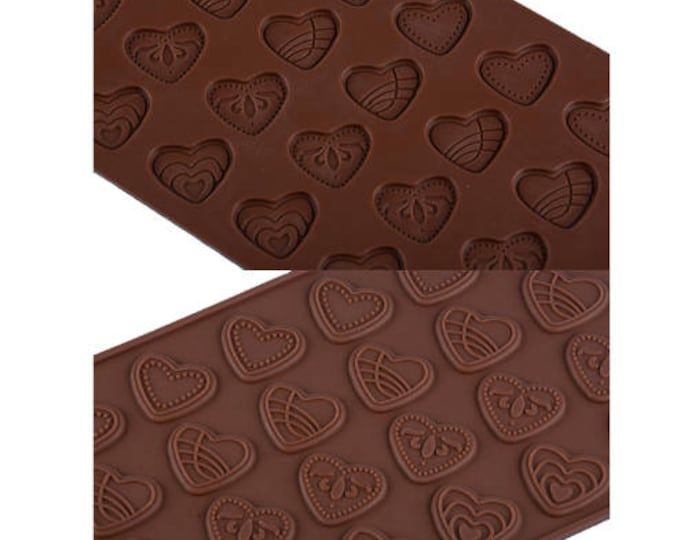 Heart Flat Silicone Chocolate Mold - JSC1345 - Baking Fondant Candy Royal Icing Ice Soap