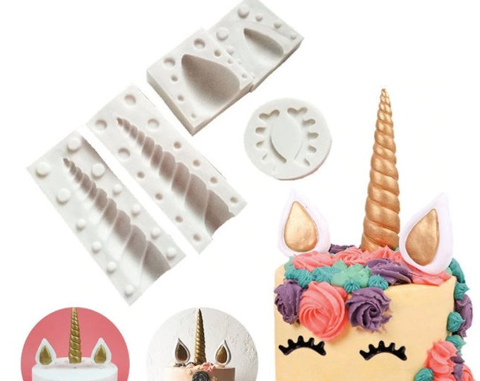 Unicorn 5pc Silicone Mold Set - Baking Fondant Soap Chocolate Candy Jelly Magical Eyes Ears Horn