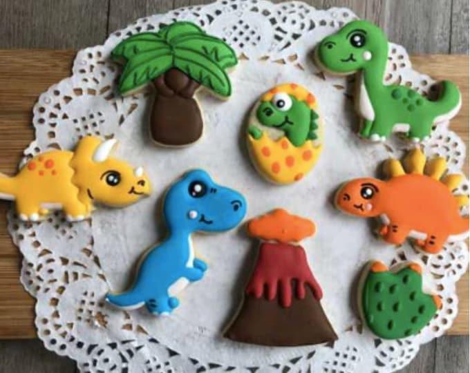 Dinosaur Cookie 8pc Cutter Set - K083 Stegosaurus Triceratops Tyrannosaurus rex T-rex Mold Candy Fondant Cutter