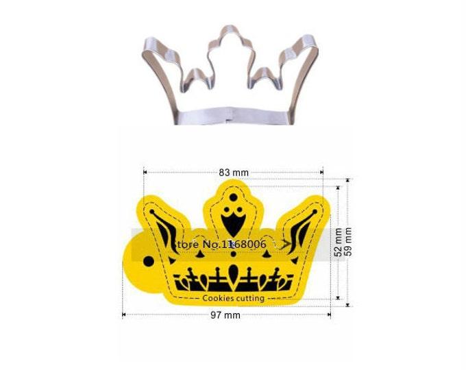 2 pc Crown Stencil + Cookie Cutter Set C - Wedding Bridal Engagement Shower Princess Tiara Royal