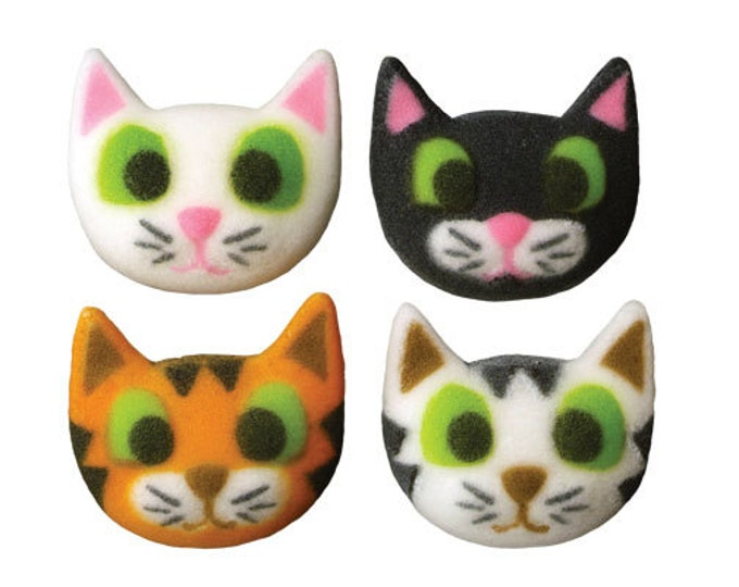12 Cat Kitty Assorted Molded Sugars Cake / Cupcake Topper Decorations