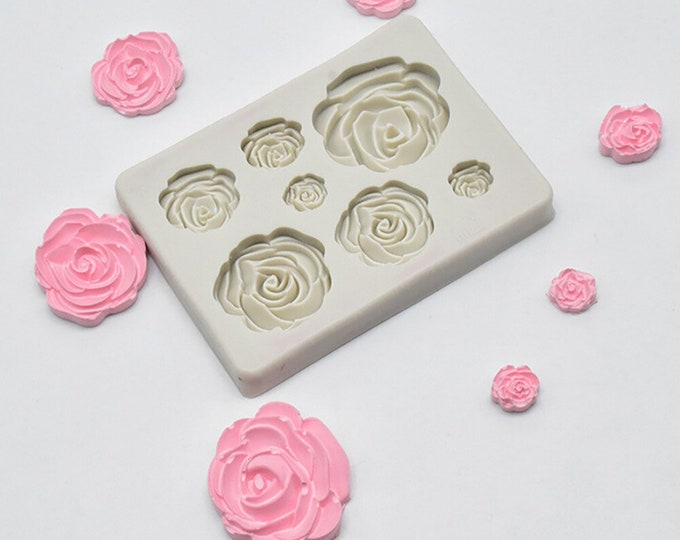 Multi Size Rose Silicone Mold - M908 Baking Fondant Soap Chocolate Candy Jelly Roses Flower Garden