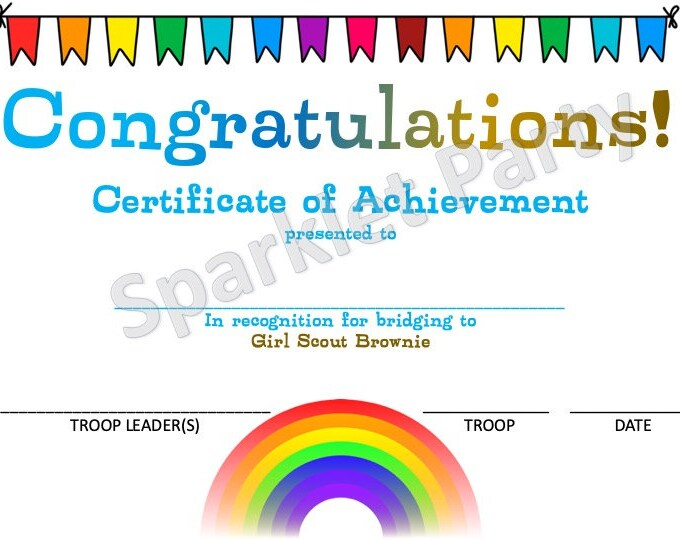 Girl Scouts Daisy to Brownie Bridging Award Certificate Printable Instant Download