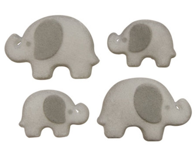 16 Elephant Edible Molded Sugar Cake / Cupcake Topper Decorations Birthday Parties, Baby Showers
