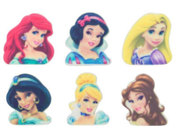 Princess 12 pc SUGARSOFT Jasmine Snow White Belle Cinderella Aurora Rapunzel Edible Printed Decorations