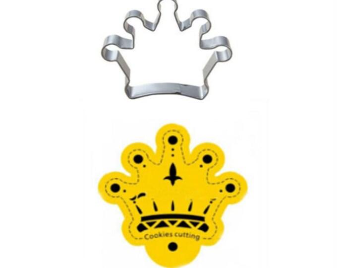 2 pc Crown Stencil + Cookie Cutter Set B - Wedding Bridal Engagement Shower Princess Tiara Royal