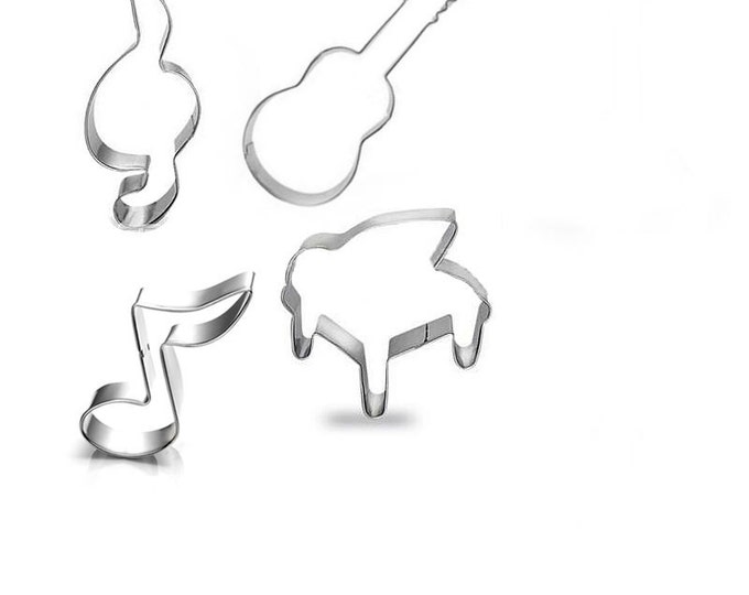 Music Cookie Cutter 4pc Set Cutter Musical Instruments Piano Notes Guitar Violin Clef Treble CX-220 Party Fondant