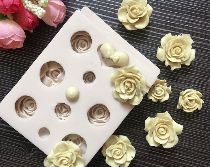 Multi Size Rose Silicone Mold - M714 Baking Fondant Soap Chocolate Candy Jelly Roses Flower Garden