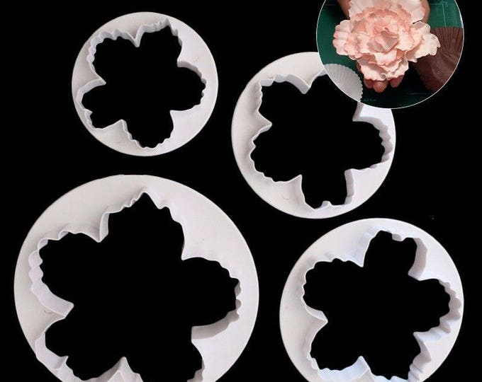4 pc Large Peony Flower Cookie Cutter Plunger Mold Set - 51054 - Candy Fondant Cutter Garden Spring Wedding