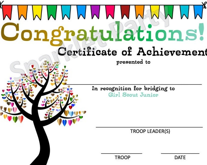 Girl Scouts Brownie to Junior Bridging Award Certificate Printable Instant Download