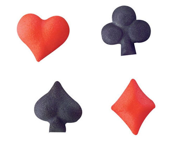 24 pcs - Playing Cards Suits Assortment Molded Sugar