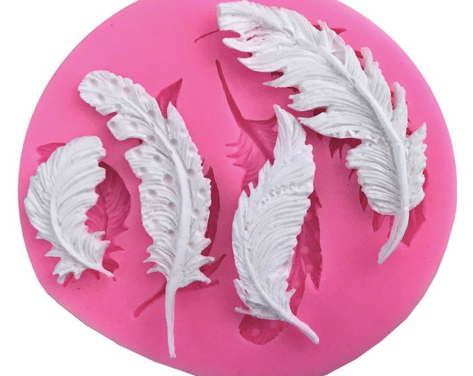 Feather Silicone Mold - L177 Baking Fondant Soap Chocolate Candy Jelly