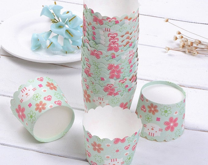 SALE 50 Cupcake Baking Cups Wrappers - Light Green with Pink Flowers / Hearts Round Muffin Cup - Candy Favor Cup